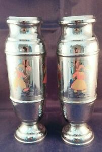A pair of Vintage Chromed Metal Flower Vases with Dutch Design ID2627 B002