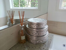 Storage boxes, decorative, pressed aluminium, large round, (3 boxes in 1), decor