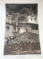 Cuban engraving, 1989 original signed by the artist, illegible signature (2/12)