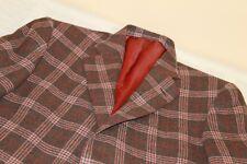 BESOKE CUSTOM Brown Plaid Wool Blazer Surgeons Cuffs 38 R 100% Wool