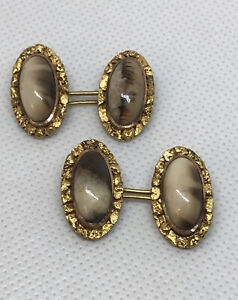 Antique Victorian Gold Rush ERA 18K & 14K Native Gold Nugget & Agate Cufflinks