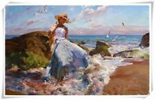 """Pino Daeni,Hand-painted Portrait oil Painting On Canvas 24x36""""#146/Unframed"""