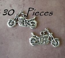 30 Harley Motorcycle Silver Metal Charm Pendants Jewelry Making Biker Chopper