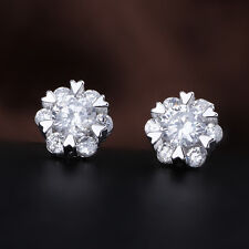 Women's CZ Crystal Snowflake Ear Stud Earring Silver Plated Fashion Jewelry Gift