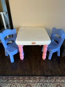 Vintage Little Tikes Blue Pink Victorian Tender❤️ Table & Chairs Set Child Size