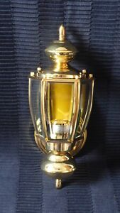 Vintage Brass Exterior Wall Light Lantern with 5 Panel Bevelled Glass Windows