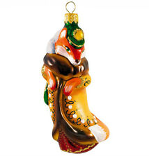 """5"""" Fox Glass Christmas Tree Ornament Hand Painted in Russia"""