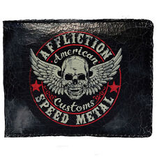 Affliction Speed Metal Winged Skull Crackle Bifold Leather Wallet Black Auth NEW