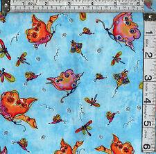Patchwork / Craft tessuto grasso 1/4's 100% COTONE FARFALLE su blu cielo