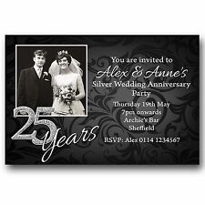 10 Personalised Party Photo Invitations 25th Silver Wedding Anniversary M107