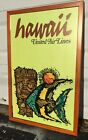 RARE 1960s Vintage United AirlinesPoster Hawaii Tiki Travel Airline Old Hi Old