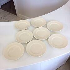 "Eight (8) Franciscan Dinnerware Wicker Weave Pattern 8"" Plates White Cream"
