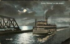 Steamer Ship Modjeska Hamilton ON at Night c1910 Postcard