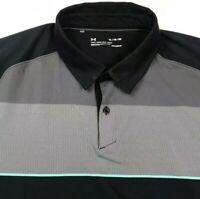 Under Armour Heat Gear Loose Fit Golf Polo Shirt Black / Gray Men's Size XL EUC