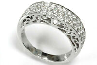 0.85 ct tw Natural Diamond Solid 14k White Gold Stackable Woman Pave Band Ring