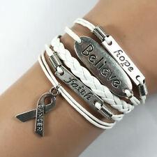 Bracelet blanc ruban, believe, breast, faith, lutte contre le cancer.