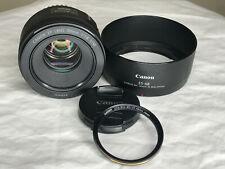Canon EF 50mm f/1.8 STM Lens for Full or APS-C DSLR W/Lens Hood and Waka Filter