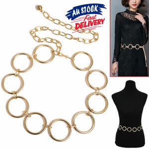 Waist Belt Charm Dress Decor Fashion Women High Hip Round Shape Link Gold Chain