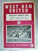 1959 WEST HAM UNITED v PRESTON NORTH END,31st Aug (League Division One)