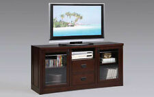 31''H MODERN DESIGN WOODEN TV STAND WITH 2 GLASS DOR CABINET-ESPRESSO-ASDI