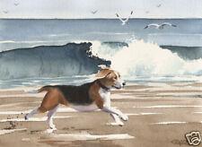 BEAGLE Dog Painting 8 x 10 ART Print Signed by Artist DJ Rogers