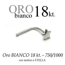 Piercing naso nose  in ORO BIANCO 18kt. con STELLA LISCIA white GOLD with STAR