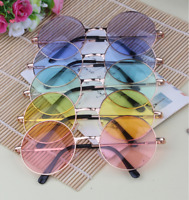 Women Cute Round Colorful Glasses Lens Sunglasses Eyewear Plastic Frame Glasses