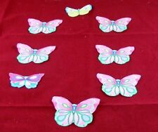 8 Butterfly Iron On Cotton Fabric Appliques for Crafts and Scrapbooks