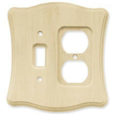 BRAINERD Scalloped Stainable Wood Single Switch Duplex Outlet Cover Wallplate
