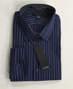 Structure Dress Shirt Fitted Wrinkle Free Blue Striped Cotton Blend