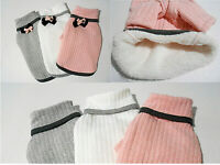 Warm Sherpa Lined Dog Sweater - Removable Bow - S M L XXL - Pink White