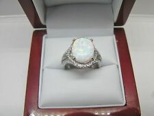 Opal 10X12mm Oval Clear Topaz Accent Combination 925 Sterling Silver Ring Size 7