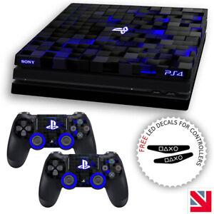 Futuristic Tech Square Pattern Blue PS4 PRO Skin Decal Vinyl Sticker Wrap