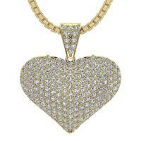Heart Pendant Necklace VS1 E 1.30 Carat Genuine Diamond Pave Set 14K Yellow Gold