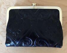 Nwt Women's Hobo International Leather Wallet, Amerie, Embossed Black