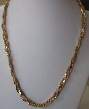 collier chaine rétro bijou vintage  maille plate torsadé 3 rangs couleur or 488