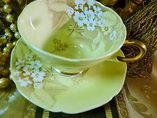 PARAGON TEA CUP AND SAUCER PALEST YELLOW WITH PRIMULAS GOLD TRIM c1930s