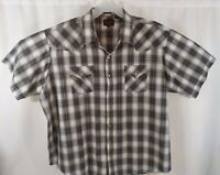 Plains Western Wear Size 3XL Plaid Men's Short Sleeve Pearl Snap Shirt BIG MAN
