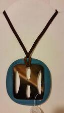 Gorgeous blue Buffalo horn pendant necklace