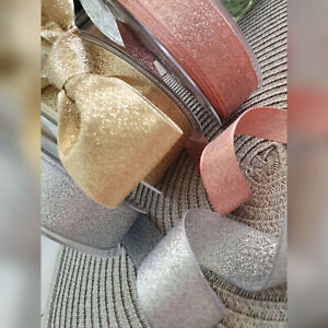15,25,40mm Sparkly Glitter Lame Ribbon Rose Gold Silver DIY Wedding Invites Bows