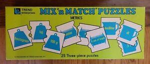 Mix n' Match Educational 25 3-Piece Puzzles Vintage Trend Enterprises Metrics
