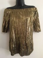 Ex River Island Gold Sparkle Plisse Off The Shoulder Bardot Blouse Top Size 8-18
