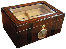 AMBASSADOR Glass Top Cigar HUMIDOR with Hygrometer and Humidifier - 100 Cigars
