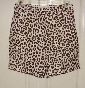 NWT J Crew size 6 ivory/brown leopard print linen blend Bermuda shorts #G2043