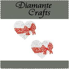 2 x 37mm Clear Heart with Red Bow Diamante Rhinestone Craft Embellishment