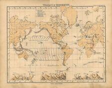 Carta geografica antica MAPPAMONDO con VULCANI e TERREMOTI 1897 Old antique map
