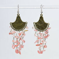 Bronze Dangle Chandelier Earrings with Rose Quartz Gemstone Handmade