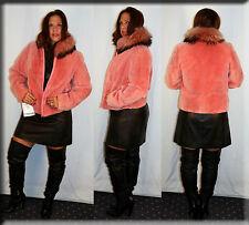 New Pink Sheared Beaver Fur Jacket Finnish Raccoon Fur Collar Size Medium 6 8 M