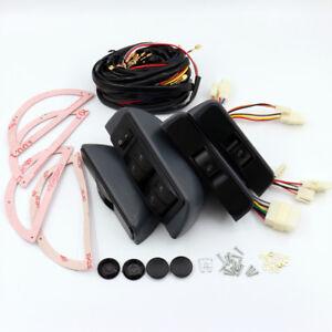 Car Power Window Lock Kit 4 Rocker Switch 12V Fit for 4 Doors Car Universal