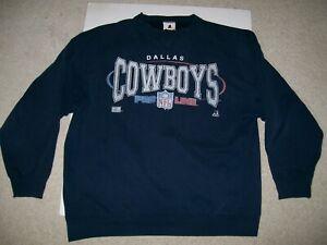 Vintage OG 90s Riddell XL NFL Dallas Cowboys Sweatshirt Navy Blue Grey Starter